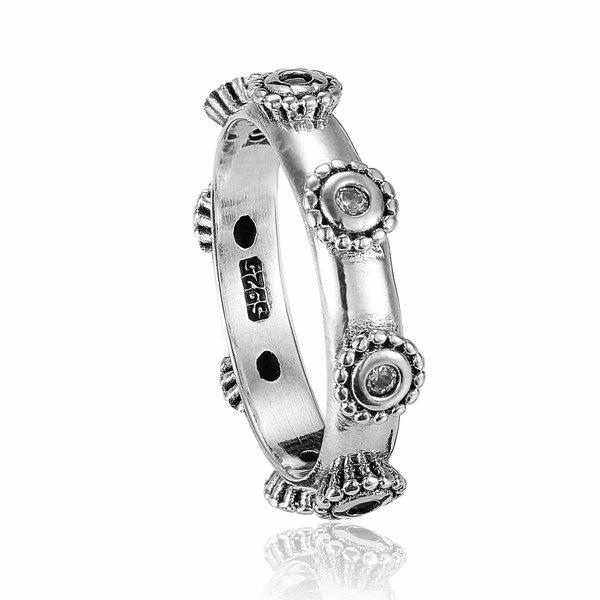 Zilveren vintage flower ring