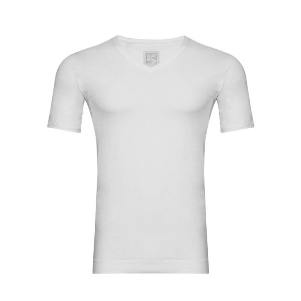 Alan Red V-Hals Heren T-shirt Silver Ion 100% Katoen Wit 2-Pack