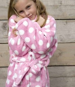 Little pink dottie / kinder badjas - S (5-6 jaar)