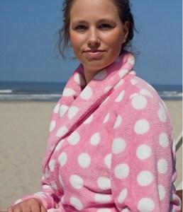 Pink dottie / Dames badjas - L/XL