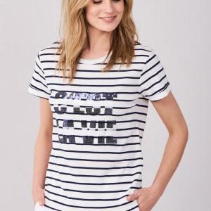 T-shirt in marine-look met opschrift in pailletten