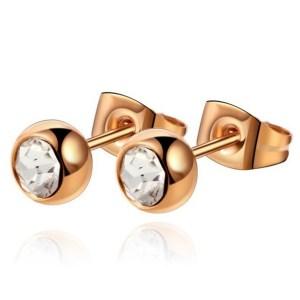 Cilla Jewels oorstekers Rose Edelstaal Transparante steen