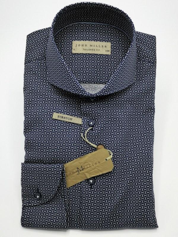 John Miller Overhemd Navy Poplin Print Cutaway Tailored Fit