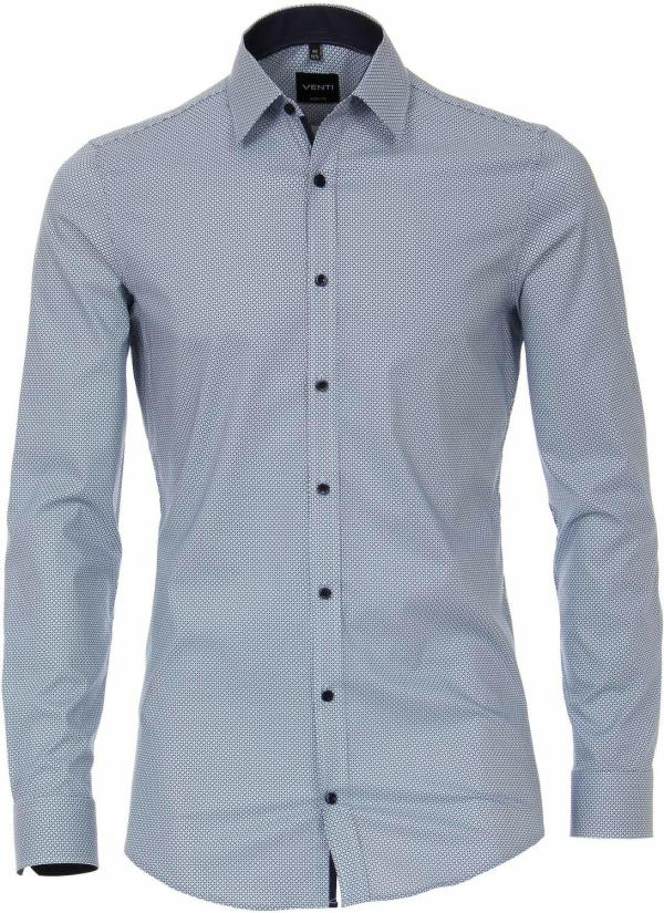 Venti Heren Overhemd Lichtblauw Print Poplin Kent Body Fit