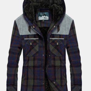 Mens Plaid 100% Cotton Plush Lined Thick Snap Button Shirt Hooded Overcoats