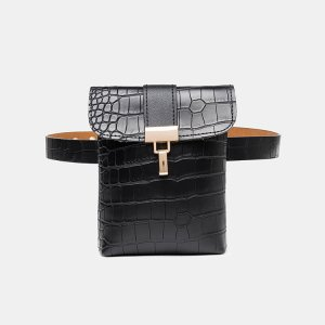 Women Crocodile Pattern Mini Crossbody Bag Stylish Waist Bag