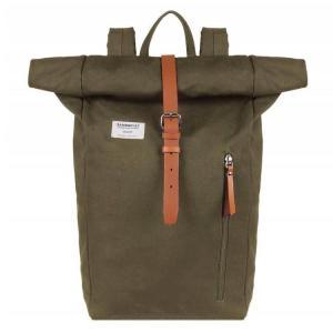 Sandqvist Dante Rugzak - Olive with Cognac Brown Leather