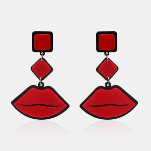 Women's Cute Funny Earrings Red Lip Ear Drop