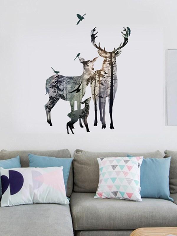Creative Elk Self-adhesive Bedroom Living Room Sticker Wall Art Home Decor