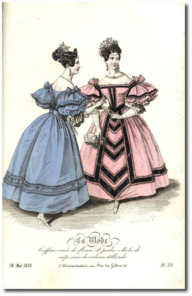 coiffure ornée de fleurs 1864