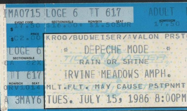 Bilety na koncert depeche MODE // Irvine Meadows 1986