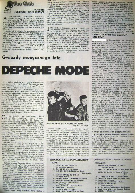 """""""Gwiazdy muzycznego lata"""" Depeche Mode - Panorama nr 25/85 (1985/07/28)"""
