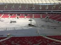 PGE Narodowy, budowa filarów na nagłośnienie, na koncert depeche MODE 2017.07.19