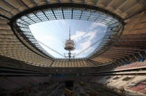 Stadion Narodowy - złożony dach.