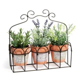 3 plantes artificielles en pot + support en métal 17,99e / Maisons du monde.