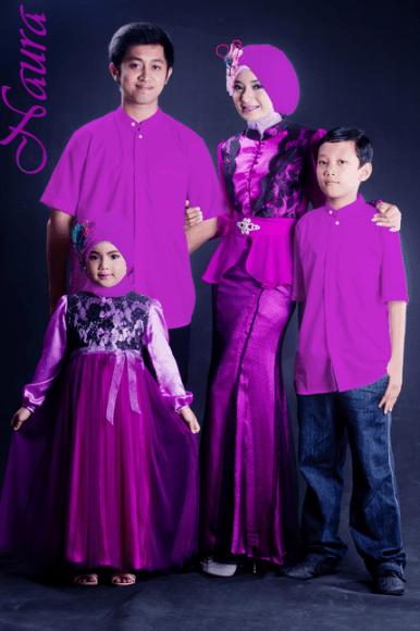 Baju Muslim Keluarga Warna Ungu
