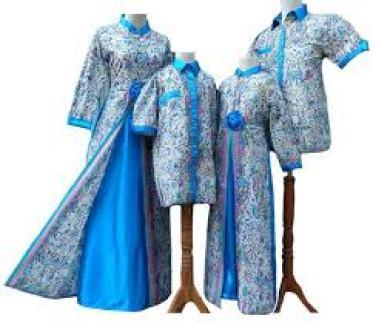 Model Baju Batik Lebaran Keluarga Warna Biru Terbaru