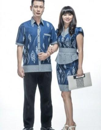 model baju seragam batik kerja kombinasi kain polos