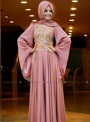 Model Dress Pesta Panjang Brokat Terbaru