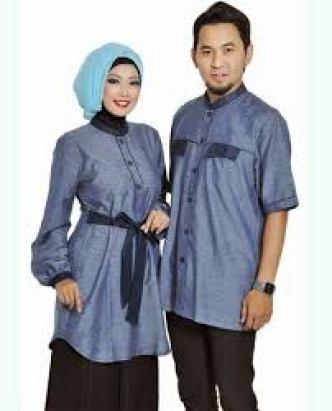 Model Baju Muslim Keluarga Warna Biru Untuk Lebaran Terbaru