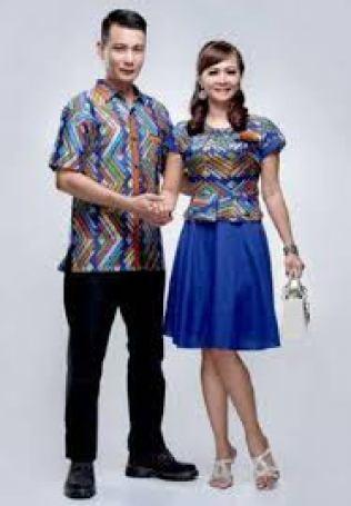 baju seragam batik kombinasi polos modern