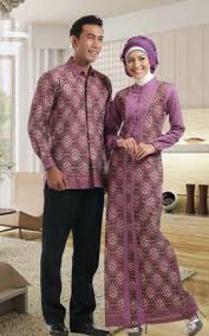 gamis seragam motif batik kombinasi polos modern