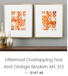 Uttermost Teal and Orange Modern Art
