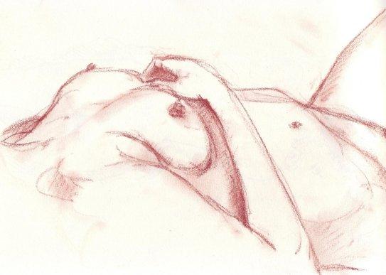 La main sur ma poitrine
