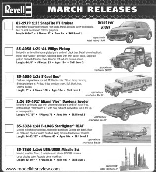 Revell March 2013 Releases
