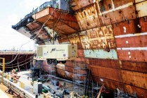 Newport News Shipbuilding has learned a lot about building carriers over the years, like the wisdom of leaving the paint job until the ship is finished. This is done to save on repainting over welds and stresses caused during construction.