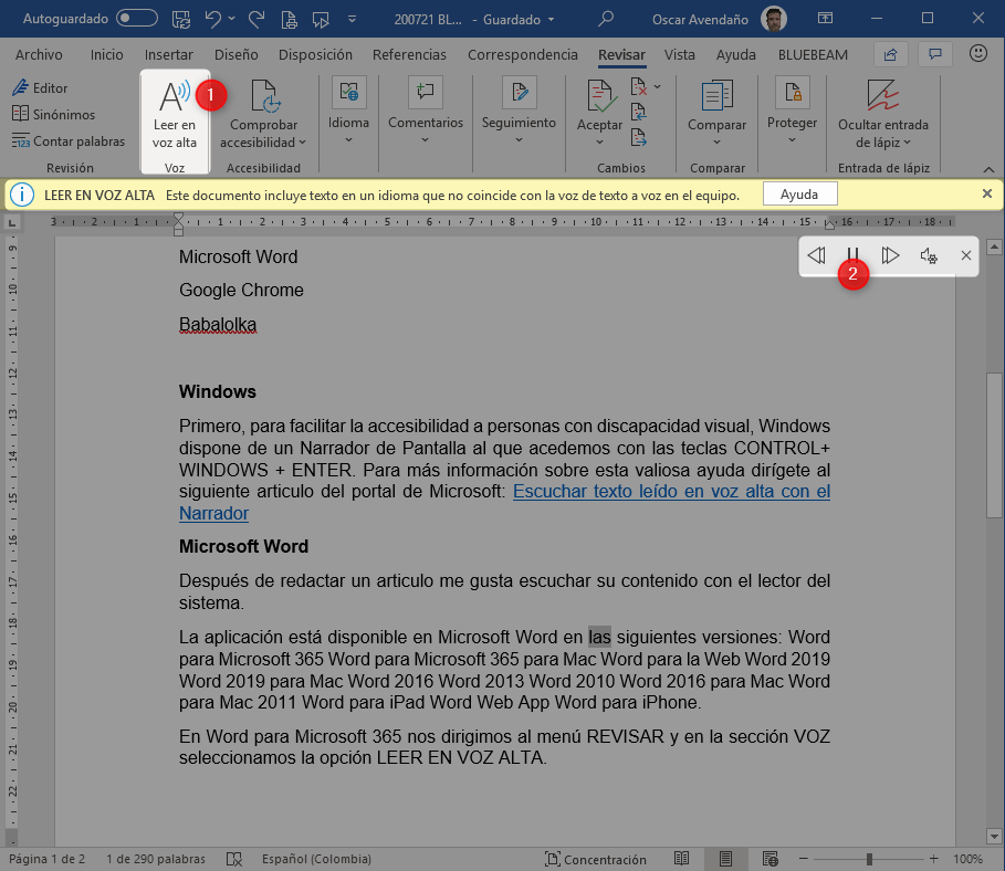 Más fácil no hay. Microsoft pone a su disposición el lector en Word, de exclente calidad aunque con opciones limitadas pero suficientes.