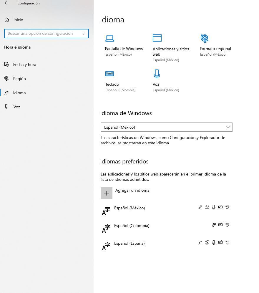 manejo e instalación de idiomas del sistema en Windows 10