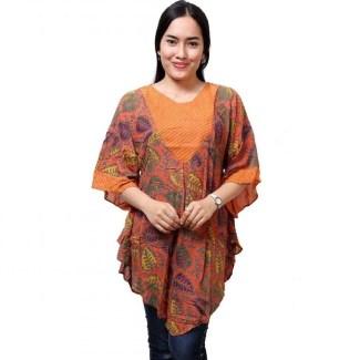 Baju Batik untuk Wanita Gemuk dengan Kombinasi Kain Polos