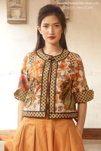 Baju Bolero Batik Lengan Pendek Warna Kuning Emas Terbaik