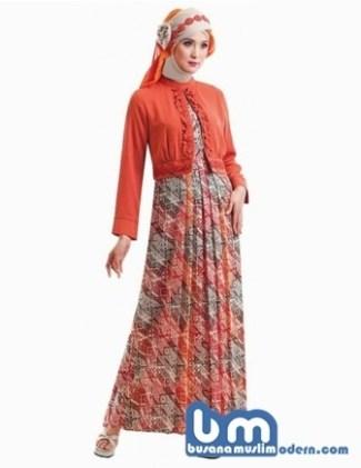 Model Baju Batik Muslimah Kombinasi Bermotif Modern