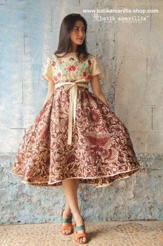 Contoh Model Baju Batik Dress Pendek