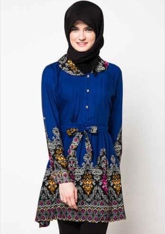 Model Baju Batik Atasan Wanita Lengan Panjang untuk Muslim