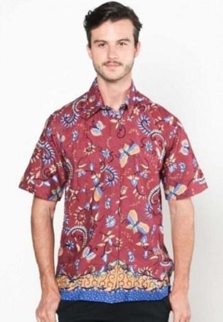 Model Baju Batik Kerja untuk Guru Laki Laki Lengan Pendek Terpopuler
