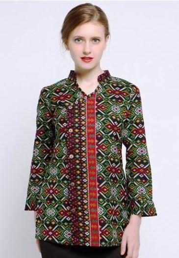 54 Model Baju Batik Kerja Kantor Pria Wanita Terbaru 2018