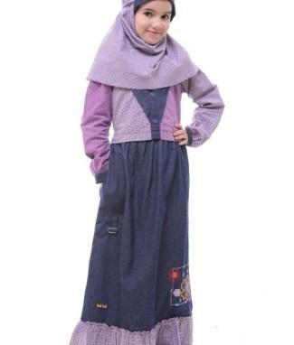 Model Baju Gamis Anak Perempuan Umur 12 Tahun Kombinasi Jean