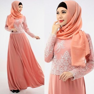 Model Baju Gamis Batik Kombinasi Kain Brokat Paling Stylish