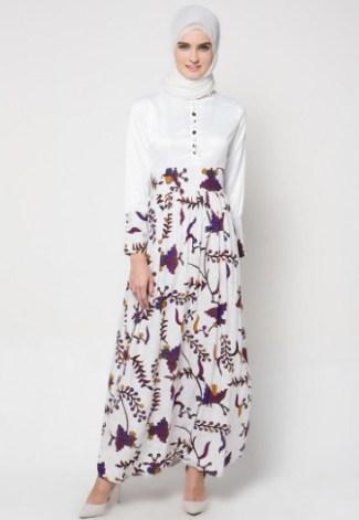 Model Baju Gamis Batik Kombinasi Polos untuk Anak Muda