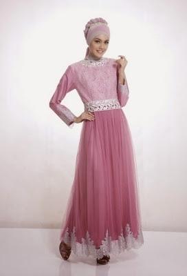 Model Baju Gamis Brokat Kombinasi Sifon Moden