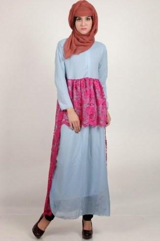 Model Baju Gamis Sifon Polos dengan Kombinasi Sedikit Batik