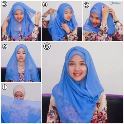 Tutorial Hijab Paris Segi Empat 1