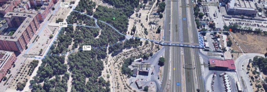Mapa del recorrido peatonal entre el Campus Sur de la UPM y Valdebernardo, por la pasarela peatonal sobre la A-3.