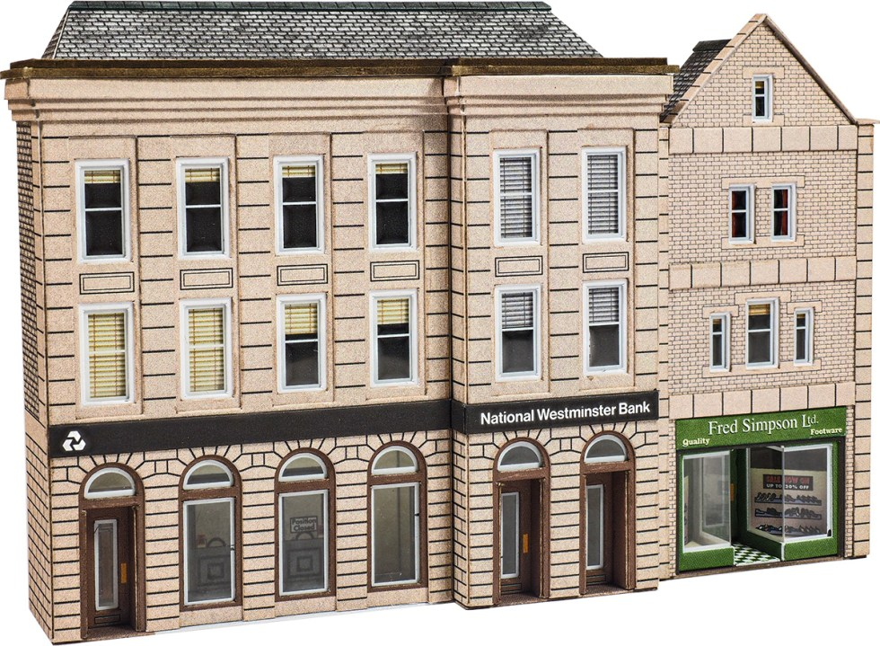 Metcalfe PN971 Low Relief Bank & Shop (N scale card kit)