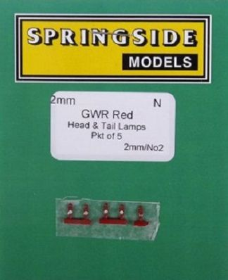 Springside Models N2 GWR Head & Tail Lamps Red (5) (N gauge)