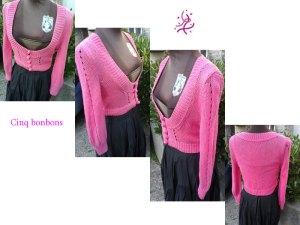 Veste aux 5 bonbons en pink yarrow