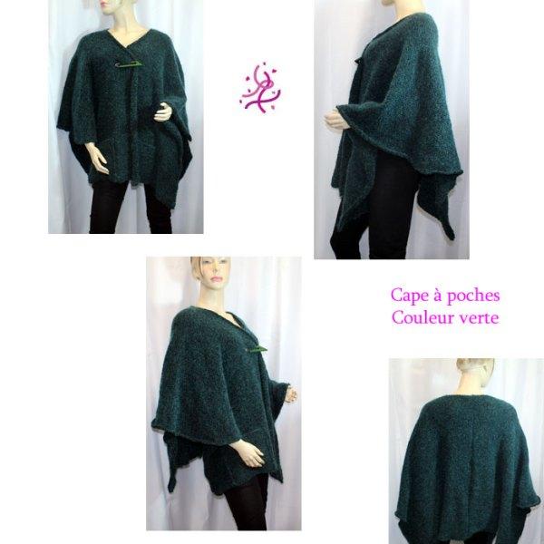 Cape à poches couleur vert sapin